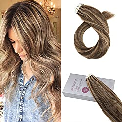 Moresoo 20 Inch Remy Human Hair Extensions Highlighted Tape in Extensions Color #4 Brown with #27 Blonde 20PCS 50G Glue in Hair Remy Real Hair Extensions