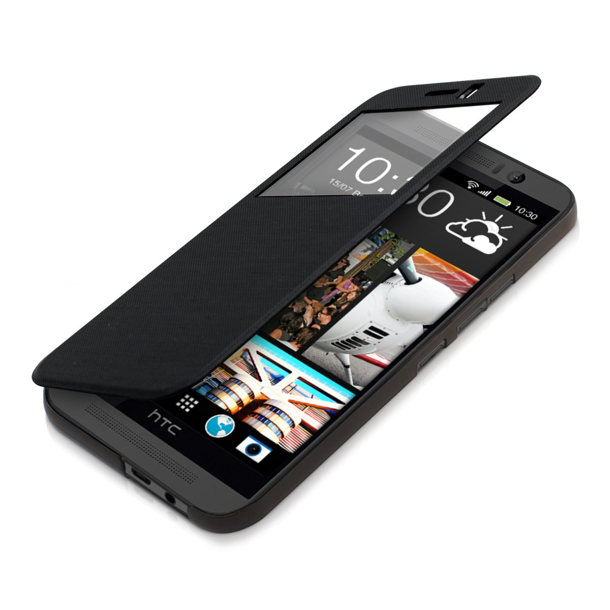 kwmobile Practical and chic FLIP COVER case with window for HTC One M9 in Black KW-Commerce 27670.01