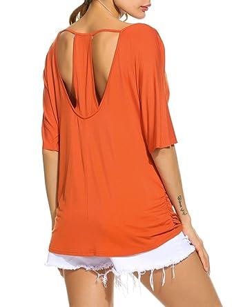 694e1141dcb Halife Women s Backless Side Shirred Loose Fit Flowy Tunic Shirt Blouse  Orange S