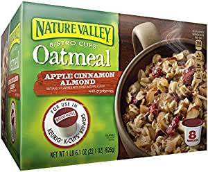 Nature Valley Bistro Cups Oatmeal for the Keurig Machine, Apple Cinnamon Almond, 22.1 Ounce