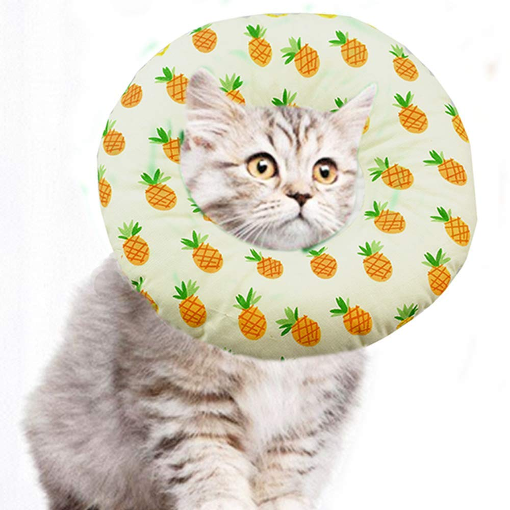 ANIAC Pet Adjustable Comfy Cone Soft Recovery Protective E-Collar Post Surgery Stress-Free Collar from Surgery,Wound Healing for Cats (Pineapple, Medium) by ANIAC