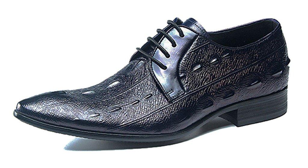Jiu du Men's Pointed Toe Classic Dark Blue Pleather Oxfords Formal Lace Up Business Dress Shoes Size 10 EU 42 by Jiu du