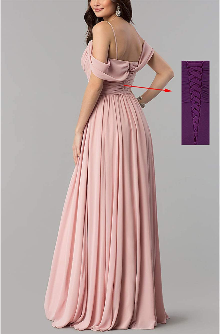 Long Cold Shoulder Pleated Chiffon Wedding Bridesmaid Dresses for Women B005