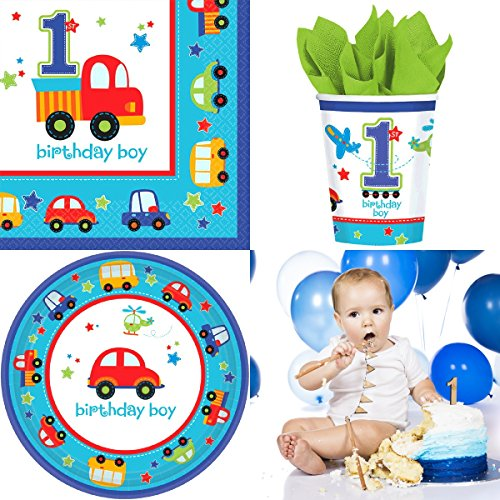 All Aboard Boy First Birthday Party Supplies, Complete Pack for 16 Guests, Includes Plates, Cups, and Napkins