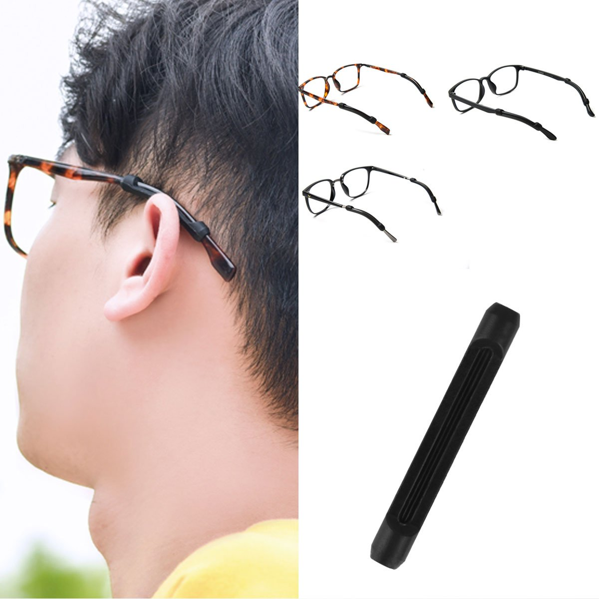 CHICTRY 5 Pairs Soft Silicone Eyeglasses Temple Tips Sleeve Retainer Anti-Slip Glasses Strap Holder Sunglasses Ear Hook Grips for Outdoor Sport Black One_Size