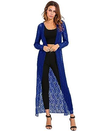 04621af9cafd ZANZEA Femme Longue Dentelle Lace cape ponchos Cardigan maxi Gilet Manteaux  vestes Hauts Tops (EU