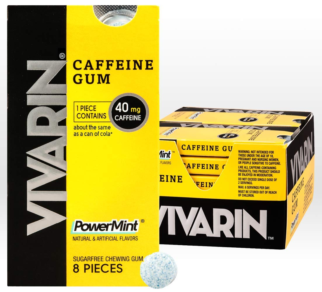 Vivarin Caffeine 8 Pieces, Sugarfree Chewing Gum, 12 Count by Vivarin
