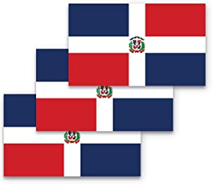 3x5 Dominican Republic Flag Bumper Sticker 3-Pack Made with Durable, Waterproof Materials, Dominican Republic Bumper Sticker, Dominican Republic Sticker