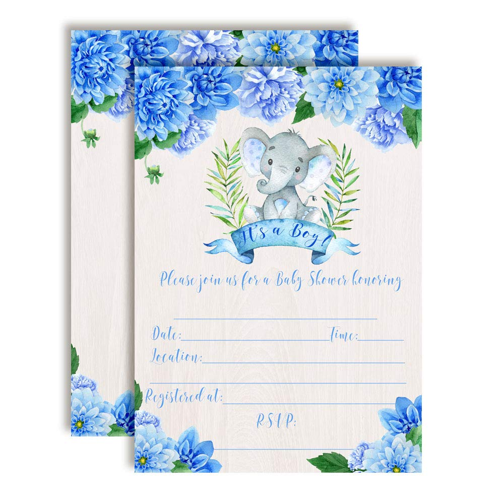 Watercolor Dahlia Floral Elephant-Themed Baby Boy Sprinkle Shower Invitations, 20 5''x7'' Fill in Cards with Twenty White Envelopes by AmandaCreation