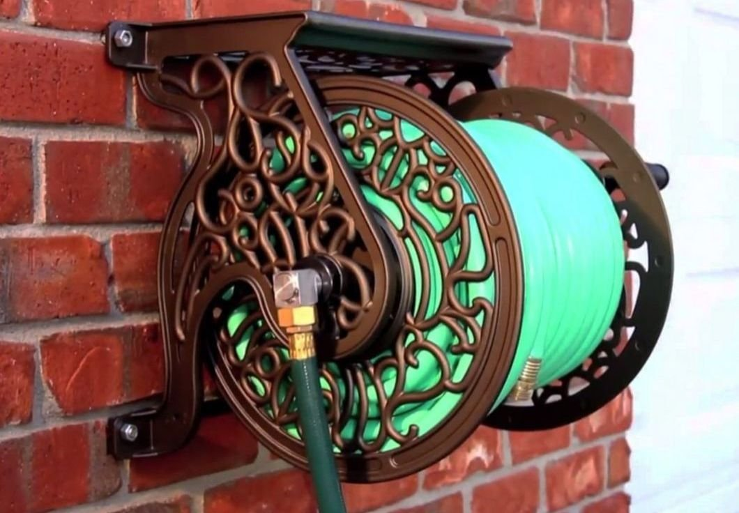 Wall Mounted Hose Reel Decorative Non Rust Cast Aluminum Antique Garden Outdoor ,product_by: pen-and-pencil it#115221887351064 by Regarmans