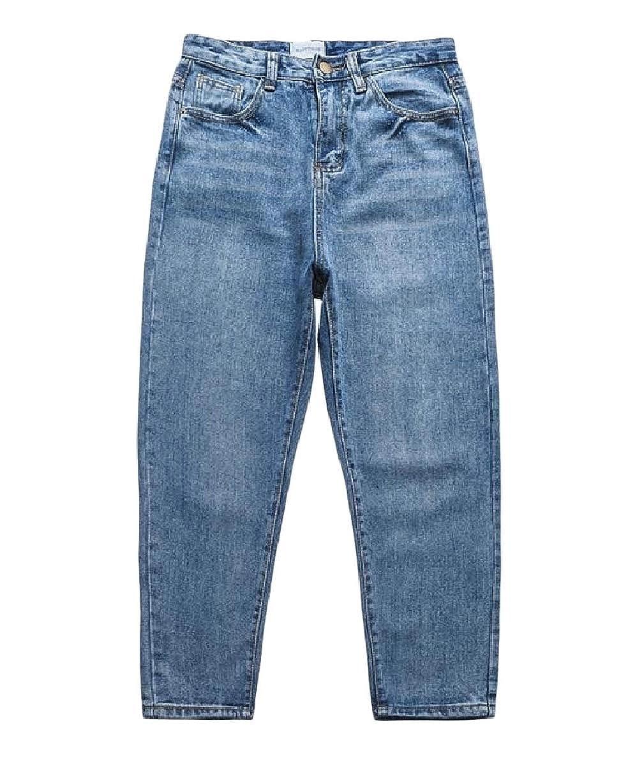 Unastar Men Thin Rugged Wear Plus-Size Basic Cowboy Loose Jeans Pants