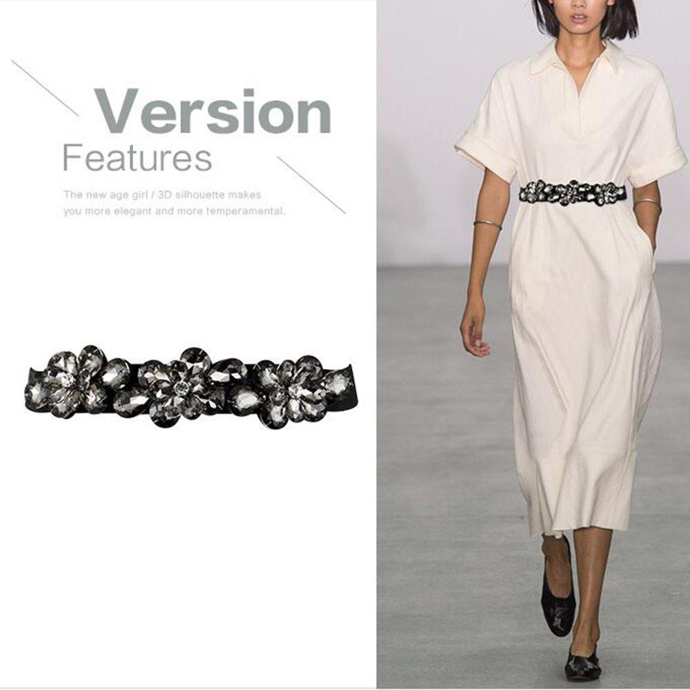 Womens Rhinestones Decoration Waist Belt,Elastic Stretch Fashion Dress Corset Band