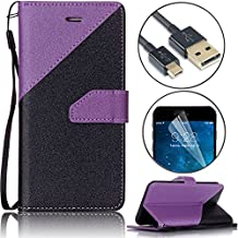 Wallet Phone Case for Samsung S4, Bonice Galaxy S4 Premium PU Leather Stitching Strip Series Black Wallet Magnetic Flip Folio Case Cover with ID Credit Card Pockets and Wrist Strap - Dark Purple