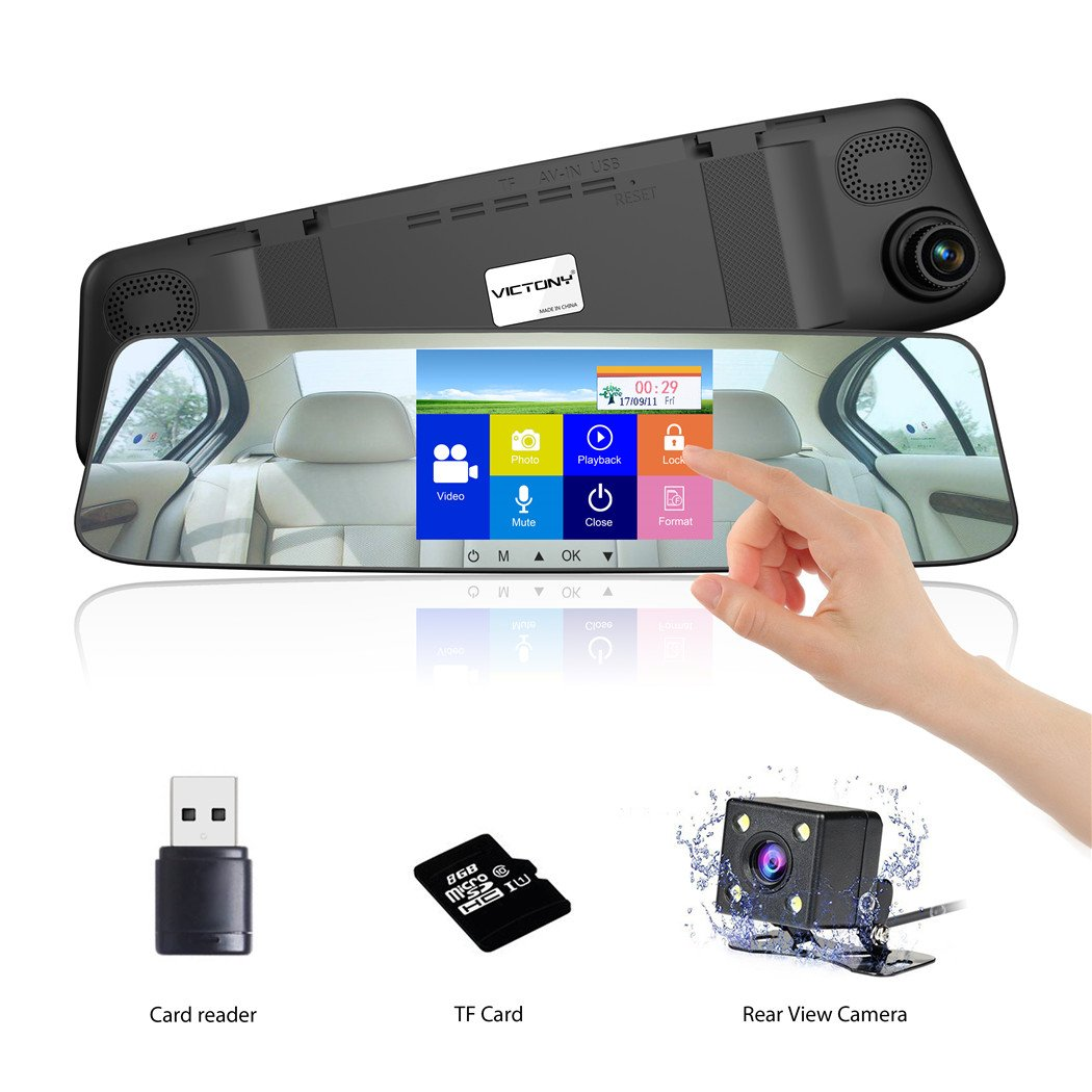 VICTONY Mirror Dash Cam 1080P 4.3 Inch Touch Screen Car Camera Front and Rear Dashcam,170° Wide Angle Video Recorder[8G Micro SD Card]
