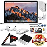 6Ave Apple 13.3 MacBook Pro (Mid 2017, Space Gray) MPXQ2LL/A + Padded Case For Macbook + Apple AirPods Wireless Bluetooth Earphones + MicroFiber Cloth + 7 Port USB Hub (White) Bundle