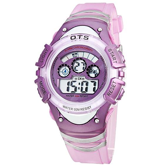 Panegy - Reloj Digital Deportivo Nocturno Luminoso Impermeable para Niños niñas Estudiantes - Violeta: Amazon.es: Relojes