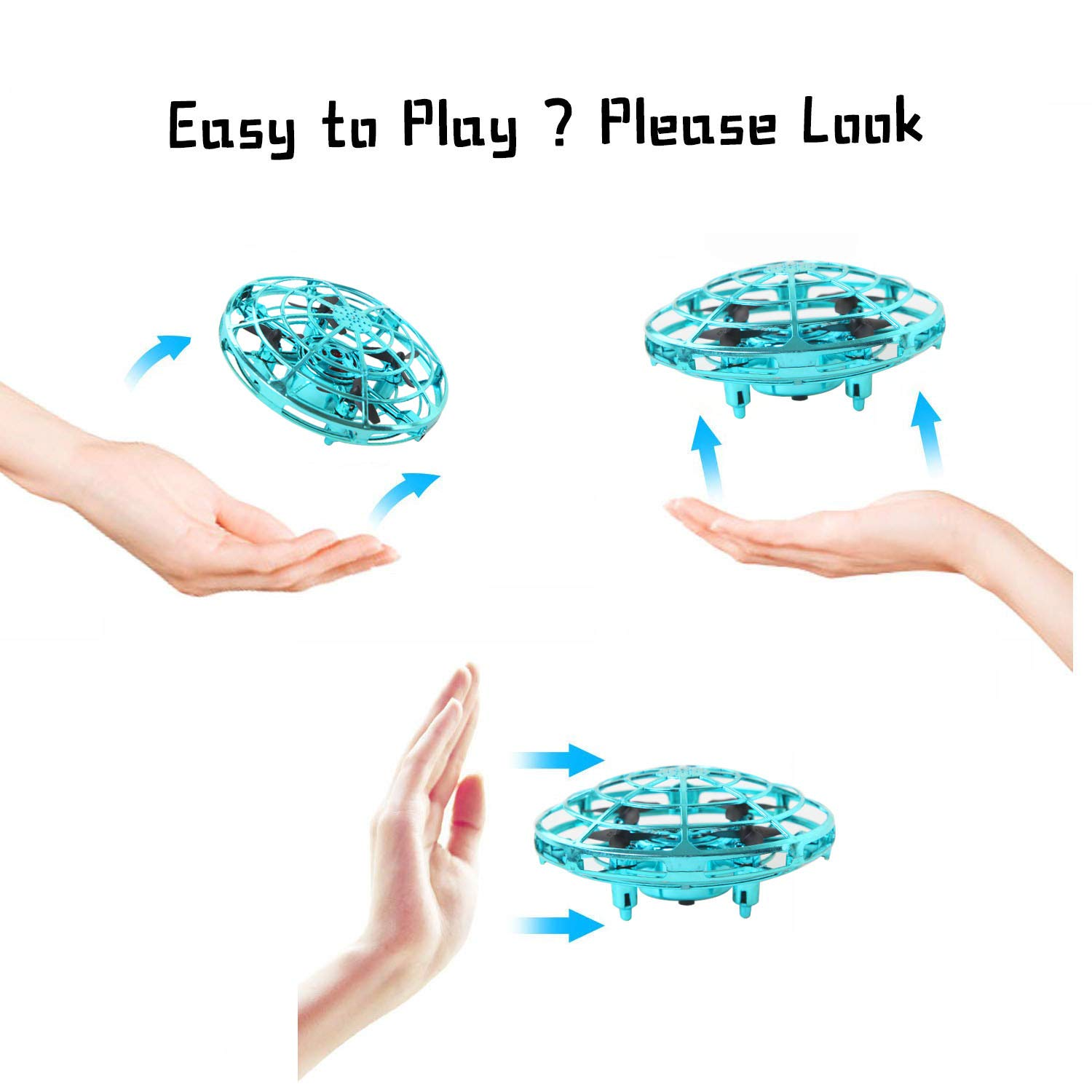 ZGYQGOO Hand Operated Drones for Kids 6 8 10 Year Old - Drone Toys for 5 6 7 8 9 10 Year Old Girls and Boys, Mini Easy Indoor Small Orb Flying Ball Indoor/Outdoor Teen Girl Gifts Blue by ZGYQGOO (Image #4)