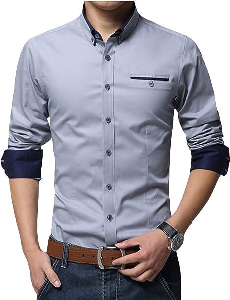 Gladiolus Moda Camisa de Manga Larga para Hombre Slim Fit Casual Camisa de Invierno M/L/XL/XXL/3XL: Amazon.es: Deportes y aire libre