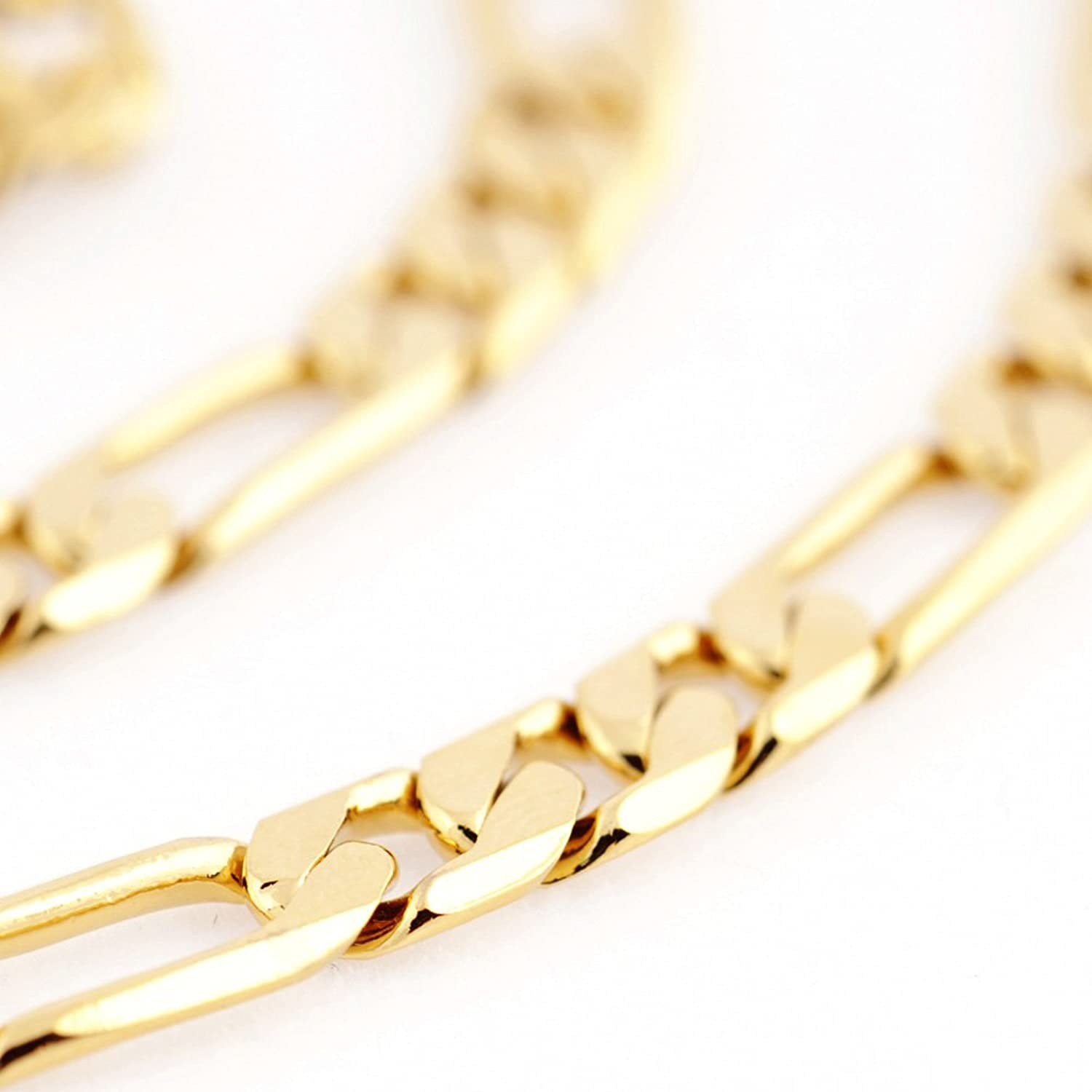 Followmoon Cool 18K Gold Plated Figaro Link Necklace Chain 18
