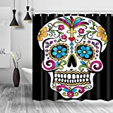 "Homify Sugar Skull Shower Curtain - 100% Polyester Water-Repellent,Mildew Resistant, Black 71""x71"" Fabric Shower Curtain Set for Bathroom,Shower Rings Included"