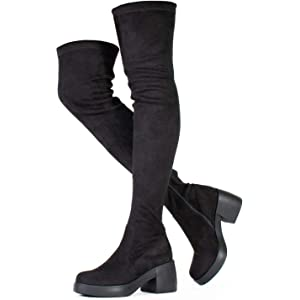 fa9c0fb925d RF ROOM OF FASHION Women s Fitted Platform Chunky Heel Over The Knee Boots