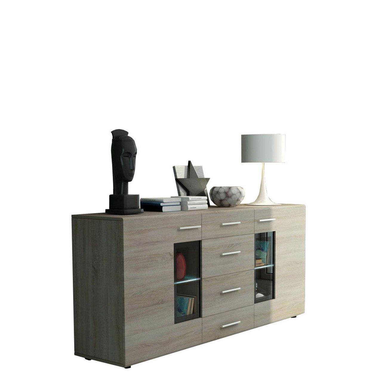 Mirjan24  Kommode Twist Anrichte Highboard Sideboard Schrank Naturtöne Mehrzweckschrank Wohnzimmerschrank, Anrichte (mit weißer LED Beleuchtung, Sonoma Eiche)