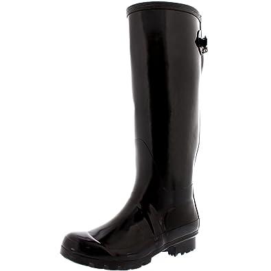 Damen Adjustable Back Tall Gloss Regen Wellies Gummistiefel Stiefel