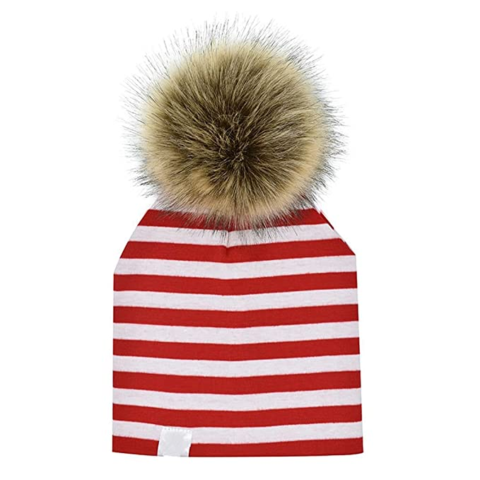 1527eea5adf MIOIM Infant Baby Boys Girls Cotton Stripes Stars Faux Fur Pompom Bobble Hat  Beanies