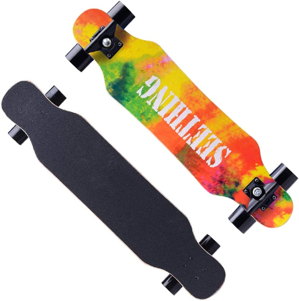 Skateboard and Kids,120x24.5cm Drop Through Freestyle Dancing Complete Longboard Brush The Street for Beginner Adults Teens