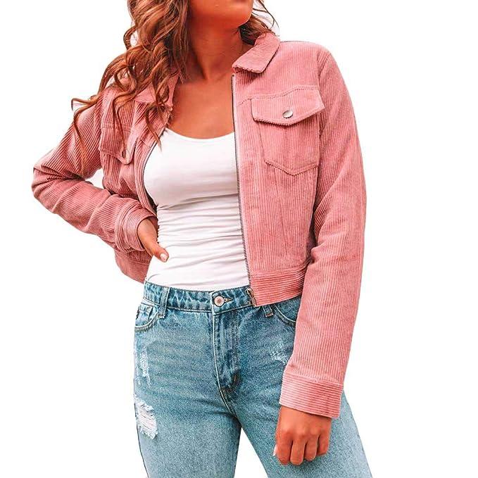 Vectry Mujer Chaqueta Sencilla de Pana de Color sólido con Zip y Solapa, el Abrigo de Mujer, para la Actividad del Ocio y la Fiesta: Amazon.es: Ropa y ...