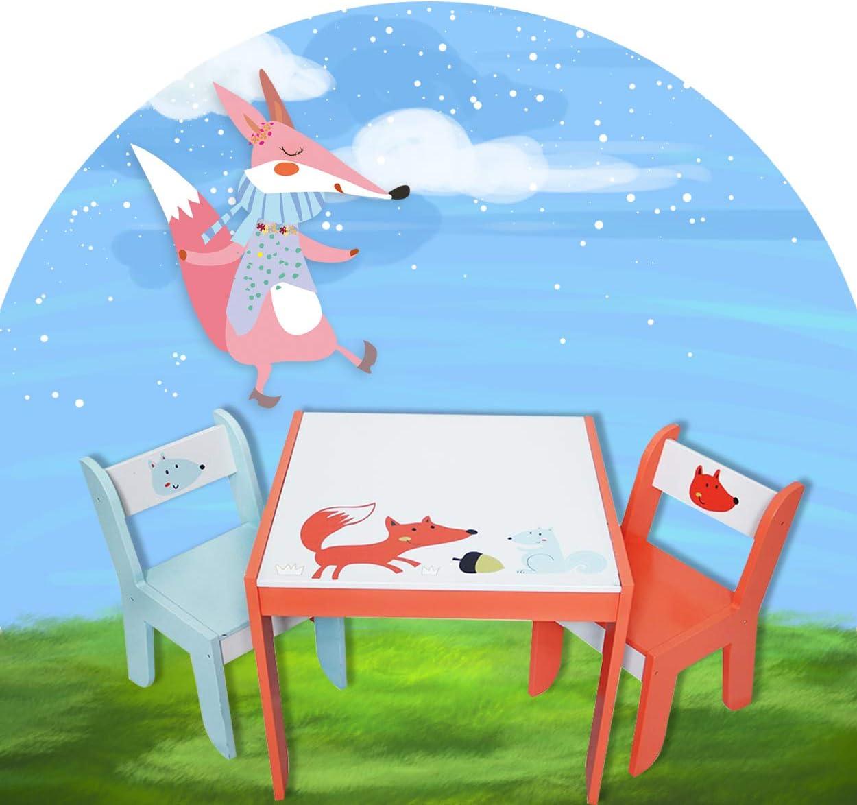 Jouet de Meubles pour Enfants HONNIEKIS Table et Chaise en Bois pour Enfants Table Pomme et 2 chaises