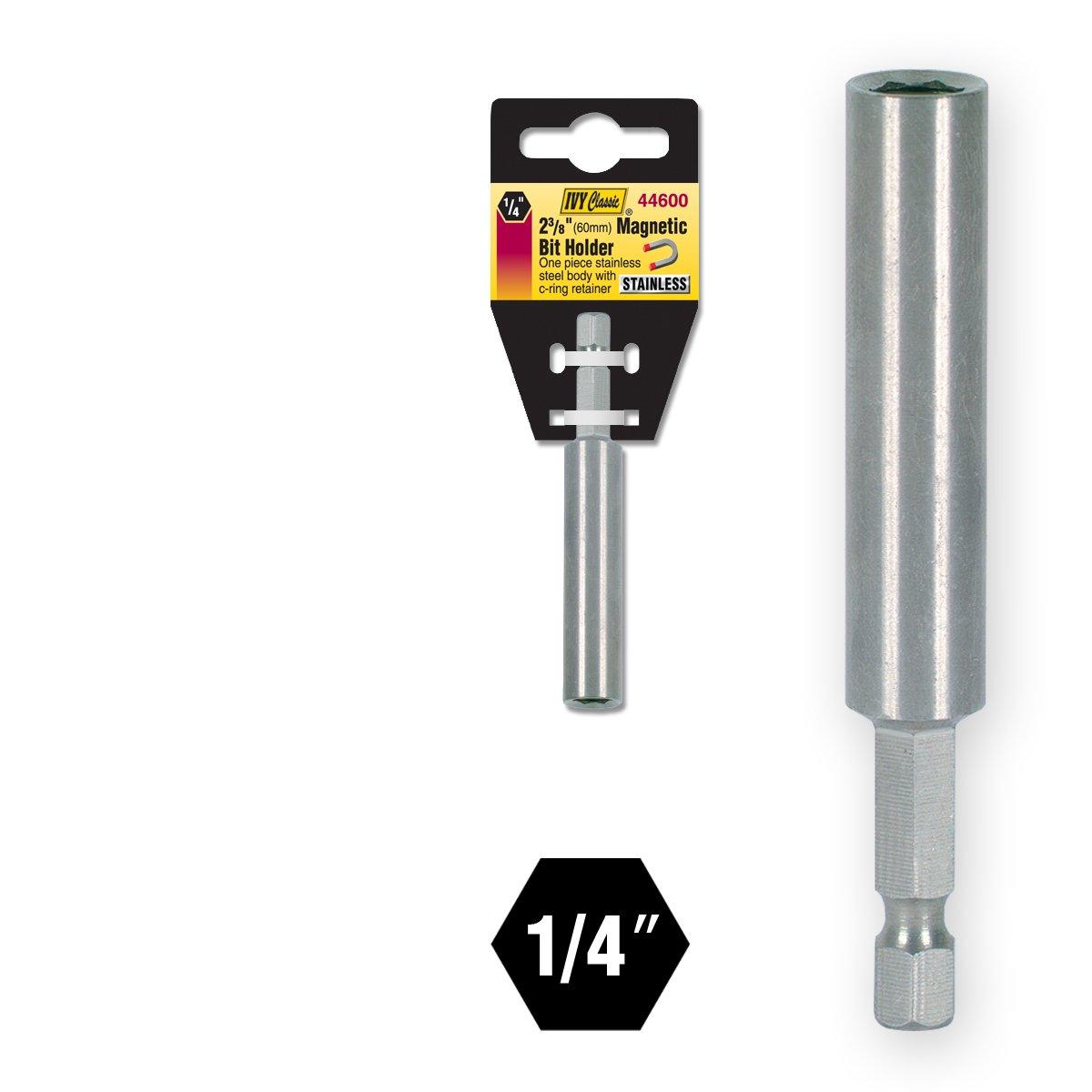 IVY Classic 44600 1//4 x 2-3//8 Hex Magnetic Bit Holder Impact Plus 1//Card