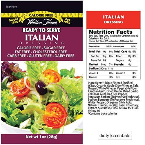 - Walden Farms On-the-Go Italian Salad Dressing Packets - 20 Packets in Ready to Serve Calorie Free Packs, 20 - 1 oz Pouches in Italian Flavor with Healthy Living eGuide