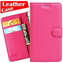 [eBuyLife] Samsung Galaxy J7 Prime / ON7 Wallet Case with Kickstand Card Slots Magnetic Closure, Luxury Series, Vegan Leather, Case Protection, Flip Folio Book Case, Gift Box - Rose Red