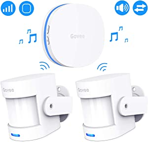 Govee Motion Sensor Alarm, Motion Detector for Home Security Indoor Door Sensor with Alerts, Store Door Detector with 36 Tunes and 5 Adjustable Volumes, 2 PIR Motion Detectors and 1 Plug-in Receiver