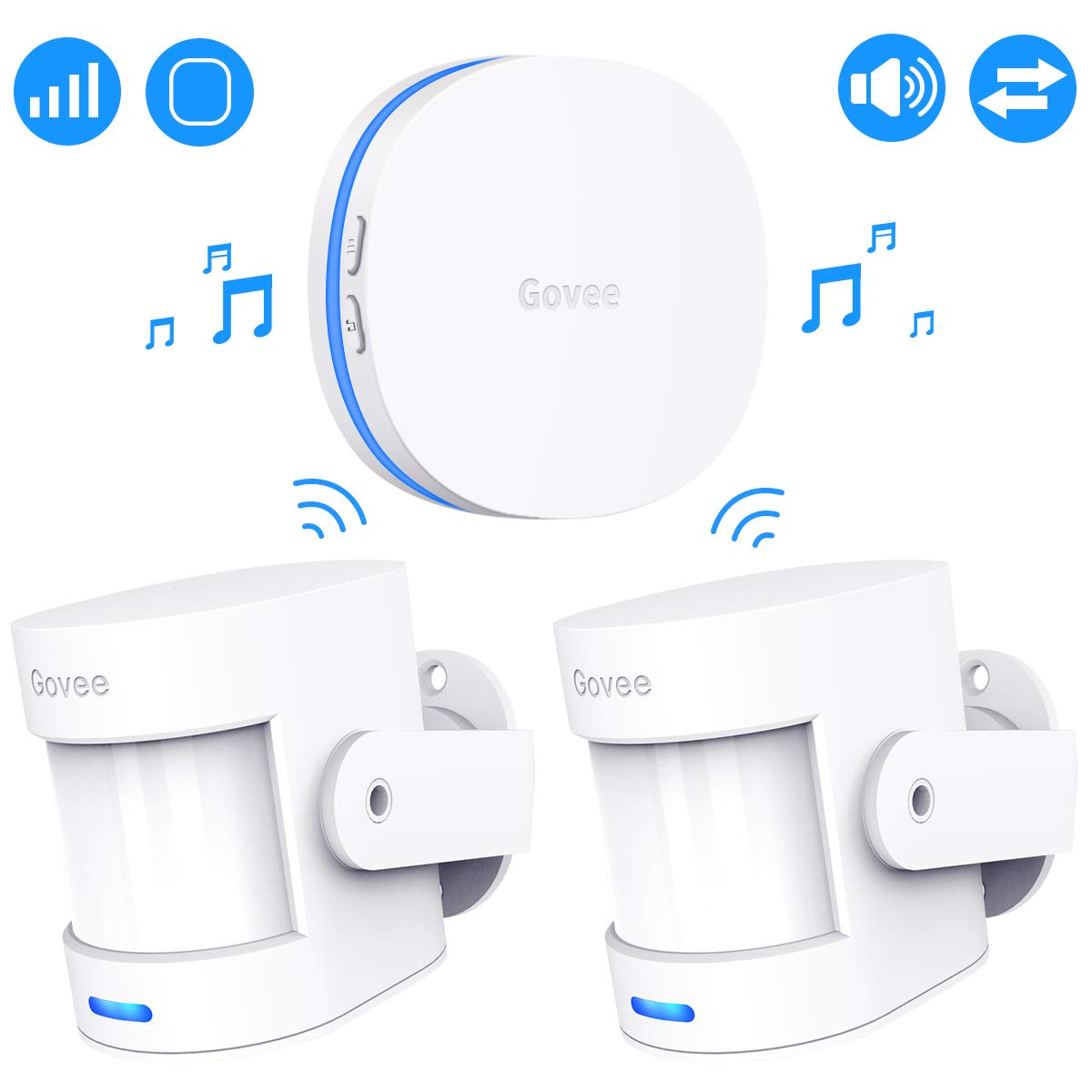 Govee Motion Sensor Alarm, Motion Detector for Home Security Indoor Door Sensor with Alerts, Store Door Detector with 36 Tunes and 5 Adjustable Volumes, 2 PIR Motion Detectors and 1 Plug-in Receiver by Govee