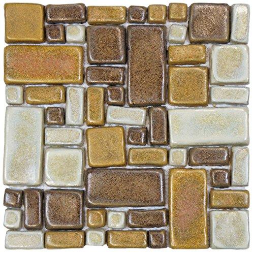 Beige Mosaic Tile Flooring - SomerTile FDXCOTA Heritage Glazed Ceramic Mosaic Floor and Wall Tile, 12