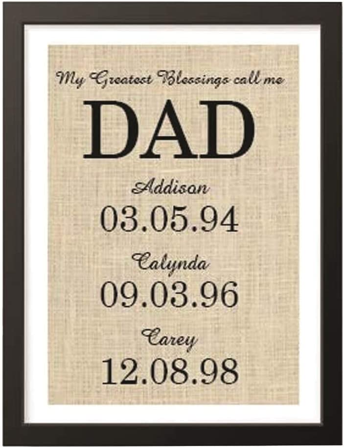 Amazon Com Boston Creative Company Cute Burlap Personalized Gift For Dad From Kids My Greatest Blessings Call Me Dad Family Date Sign Gift Ideas B Print 41 Home Kitchen