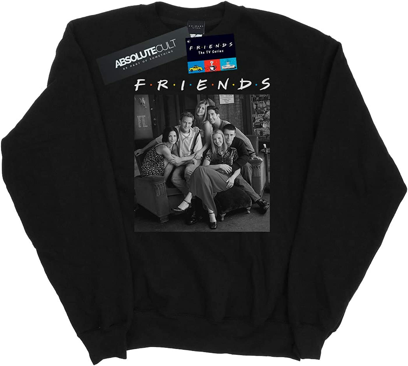 Absolute Cult Friends Girls Black and White Photo Sweatshirt