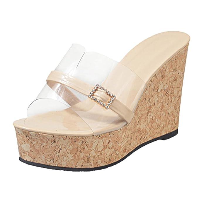 UOMOGO® Pantofole Donna Estive Elegant Scarpe Donna estive Sandali Donna  Bassi Infradito Moda Donna 11cm  Amazon.it  Abbigliamento 90454ec5421
