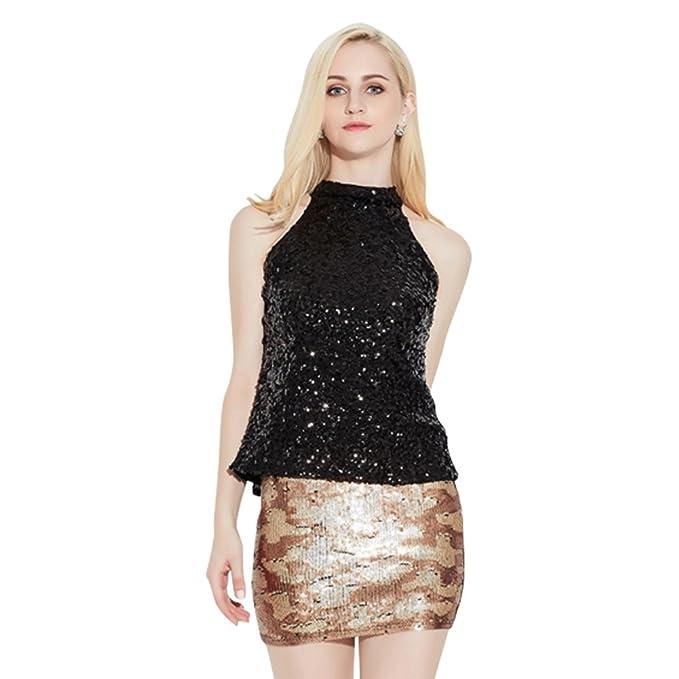 db2636d8fc3da4 Women Sequin Sparkle Glitter Tank Tops Shining Club Party Halter Vest  (Black)