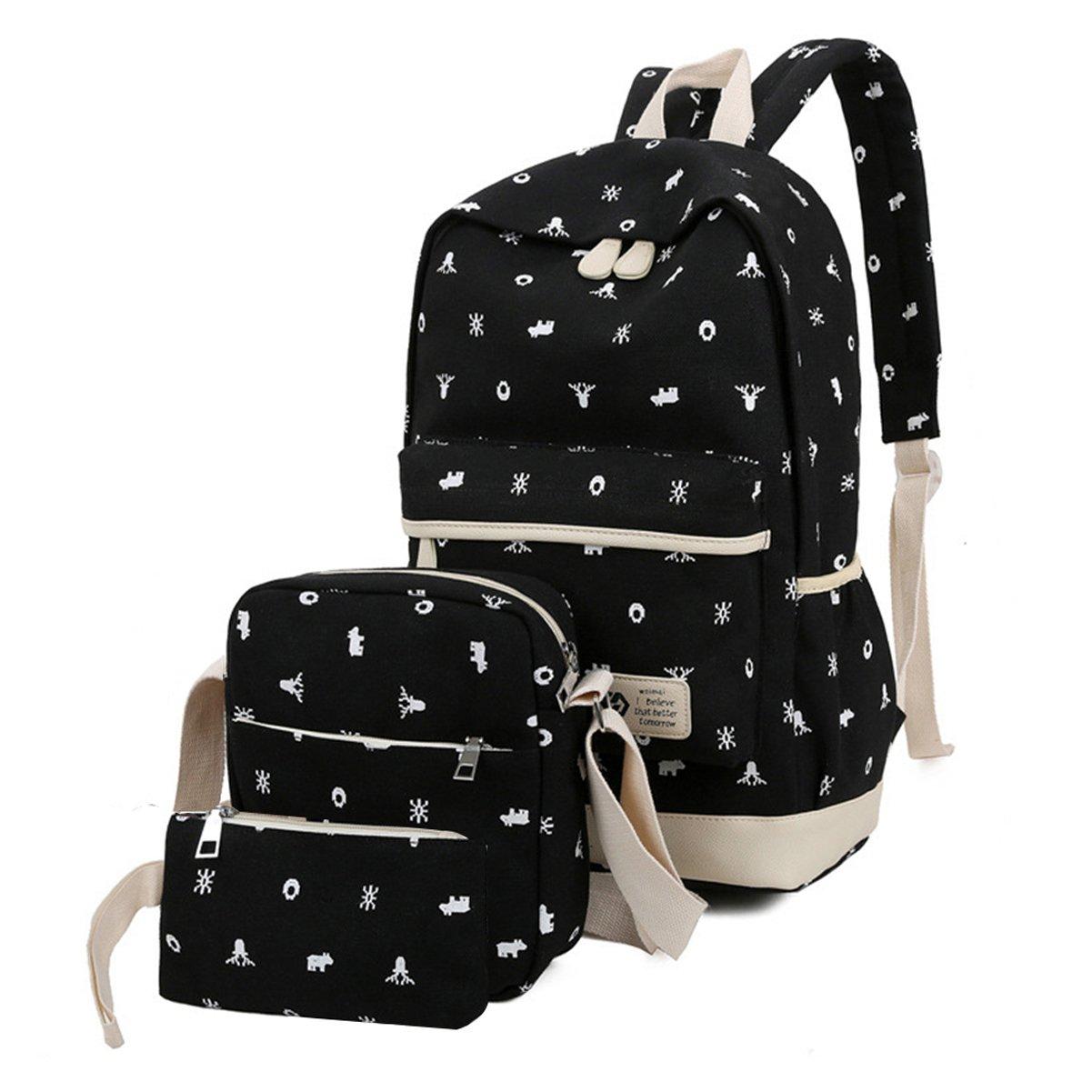 Zehui Casual Lightweight Canvas Wallet/Shoulder Bag/School Backpack Printed Bags Set Black One Size