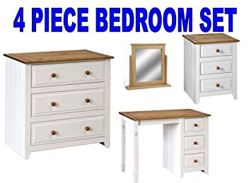 Groovy Capri White Pine Bedroom Set 4 Pieces Bedside Dressing Download Free Architecture Designs Ferenbritishbridgeorg