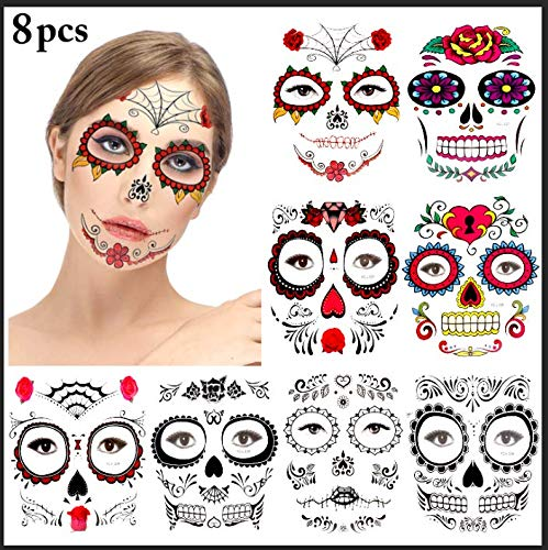 Halloween Face Tattoos,Kapmore 8 Pack Day of the Dead Sugar Skull Temporary Floral Black Skeleton Spider Web Red Roses Full Face Mask Tattoo for Adults Kids Halloween Masquerade Party Supplies