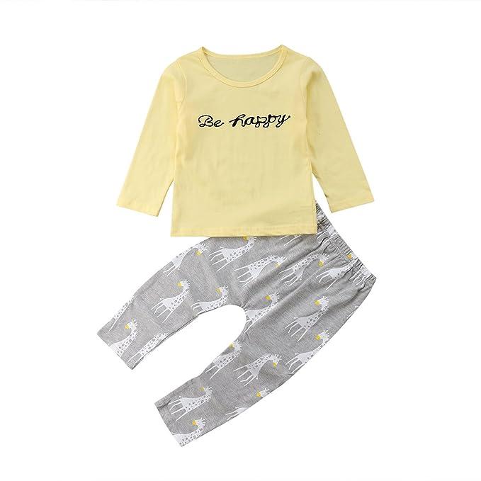 8169f8b882 Amazon.com  Toddler Baby Boy Girl Giraffe Outfit Newborn Long Sleeve Be  Happy Letter Print T-Shirt + Pants Set  Clothing