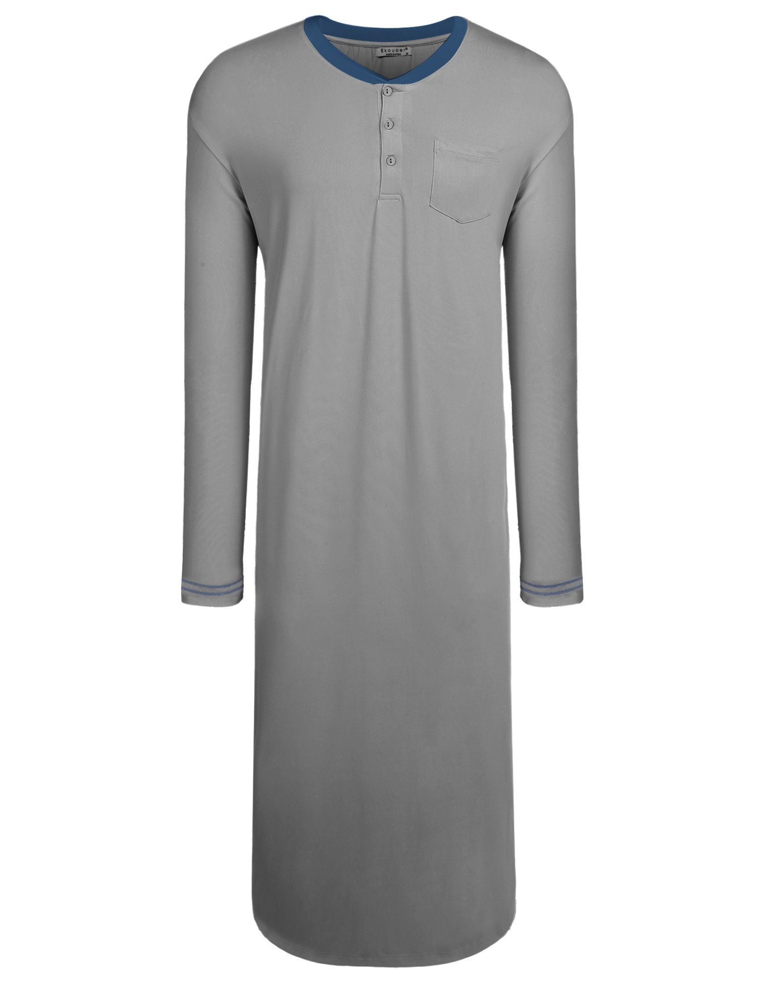 Ekouaer Men's Nightshirts Soft Sleepwear Night Shirt Henley Sleep Shirt (Grey, XX-Large)