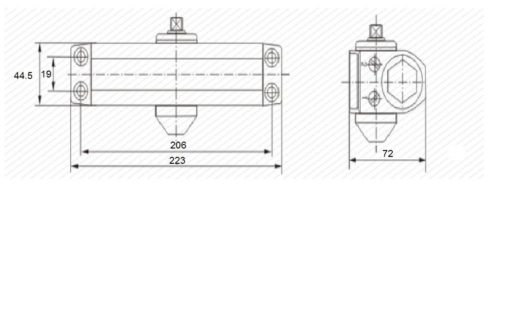 Cierrapuertas PALMAT hidr/áulico autom/ático ajustable 80-120 Kg, Plata