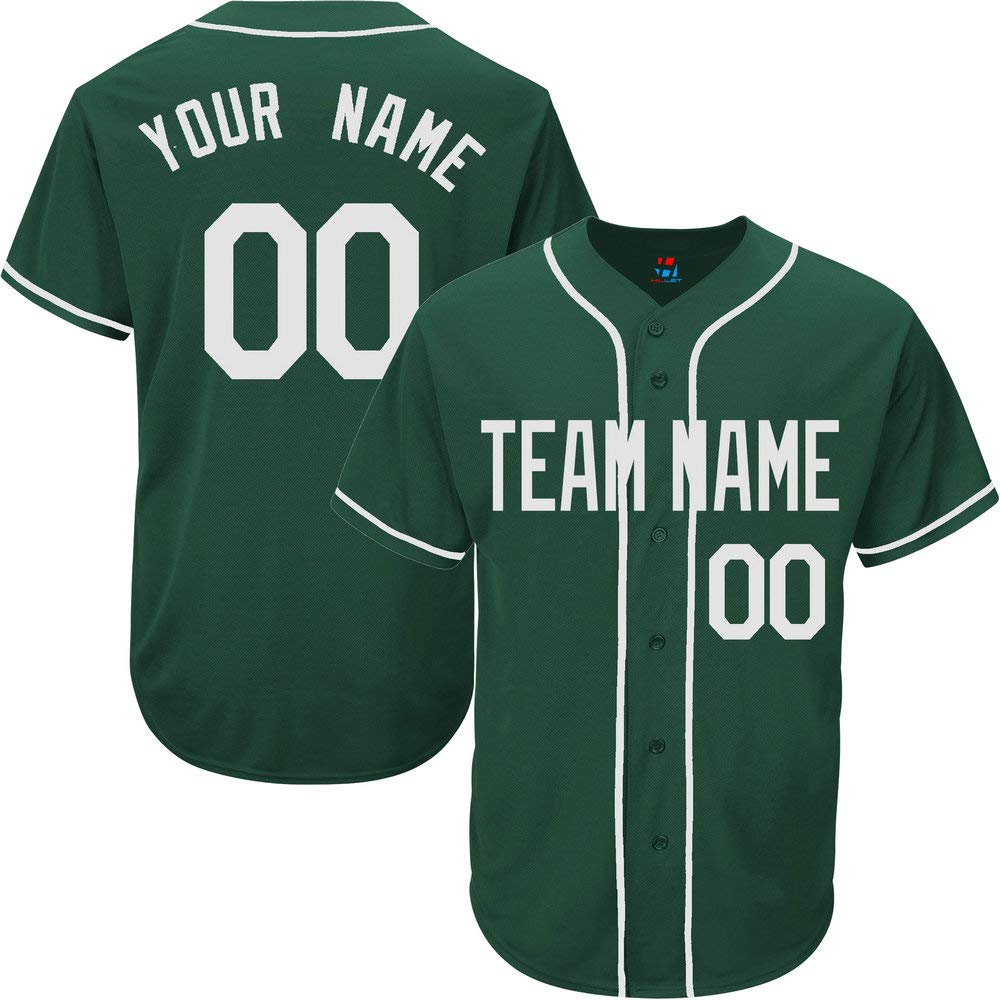 Baseball - S-8xl Your Embroidered Numbers Youth Team Full Button Hunter Women Own Green For Design com amp; Men Clothing Jersey Name Custom Amazon