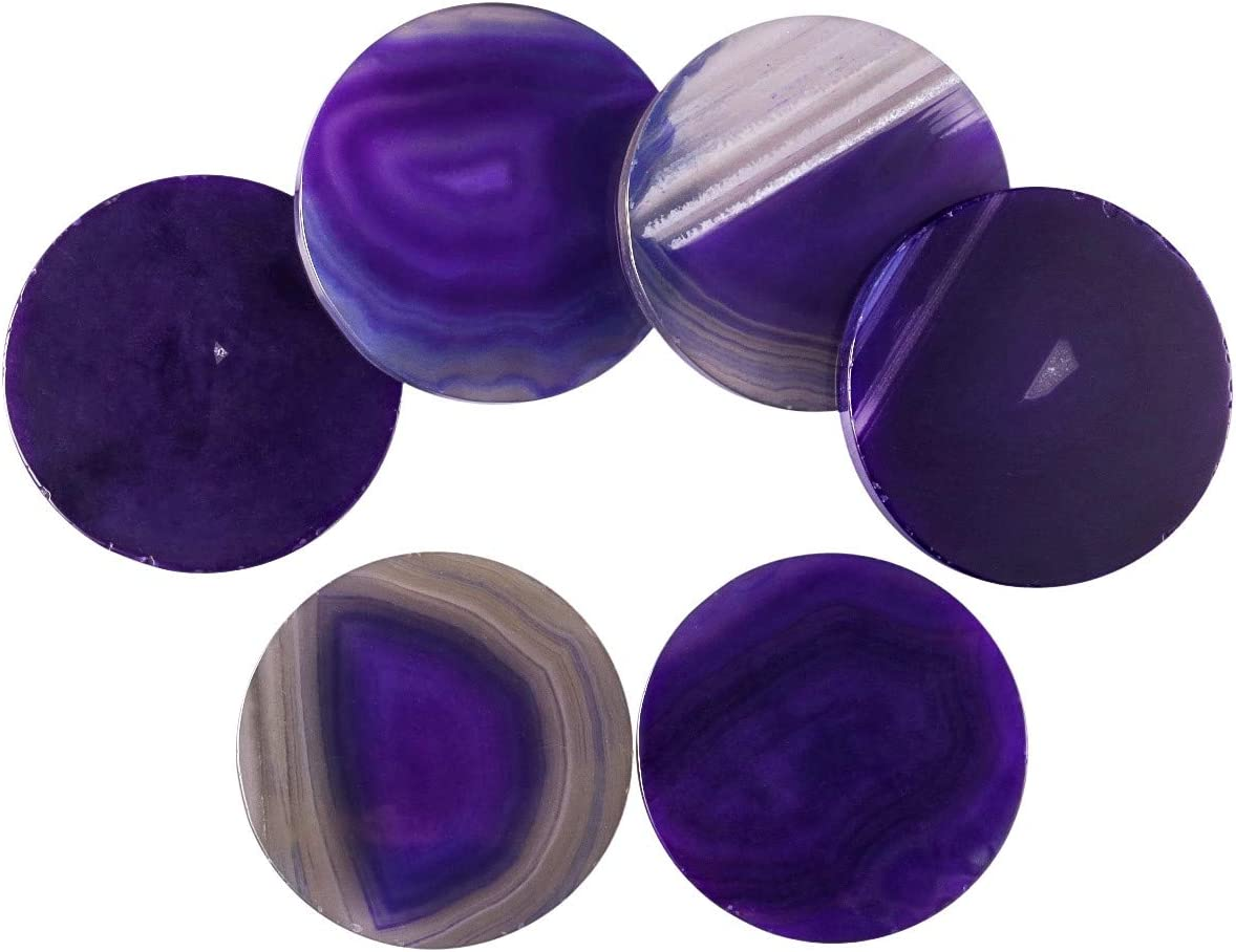 mookaitedecor Polished Agate Light Table Slices, Agate Slabs Geode Wedding Decor Place Cards Pack of 6