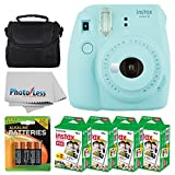 Fujifilm instax mini 9 Instant Film Camera (Ice Blue) + Fujifilm Instax Mini Twin Pack Instant Film (80 Shots) + Camera Case + AA Batteries + Accessory Bundle - International Version (No Warranty)